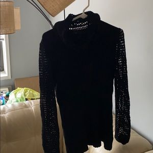 Escada black sweater with fishnet sleeves size  M